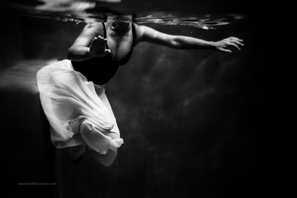 Colorado Underwater Photography, Woman in white skirt