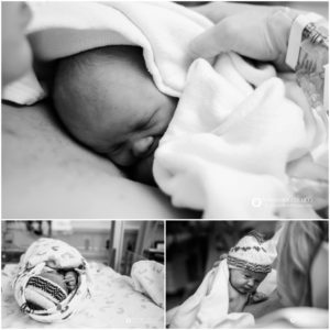 Longmont, Colorado birth photography, Baby with mom in recovery