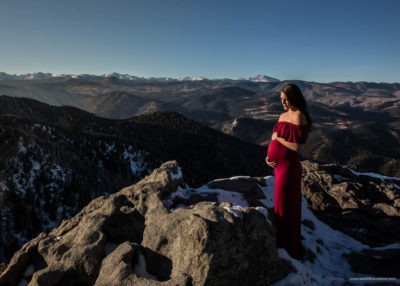 Colorado mountain maternity photo, mom wearing red dress